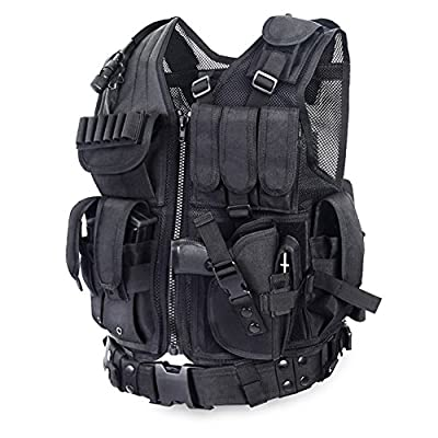YAKEDA Tactical CS Vest Outdoor Ultra-Light Breathable Training Vest Adjustable for Adults 600D Encryption Polyester-VT-1063