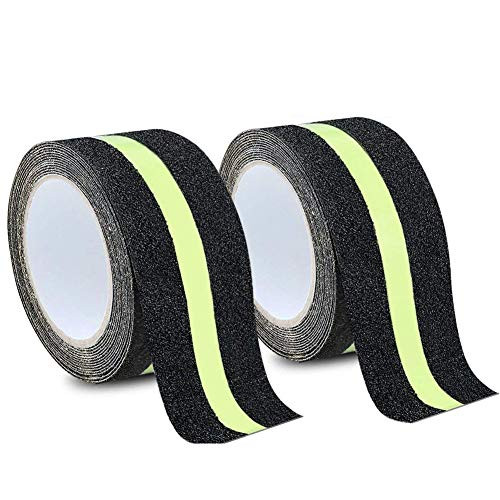 MELIFE Anti Slip Traction Tape, None Skid Glow in The Dark Walk Strip Safety Tape with 3M Best Grip Abrasive Adhesive for Stairs, Tread Step, Gaffers.(2 Pack, 16.4 Feet Long 2 inch Wide Each Roll) ()