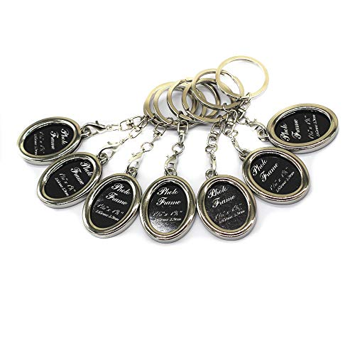 - M-W Fashion Keychain with Locket Photo Frame - Pack of 7 - Insert Photo Picture Frame Key Ring Keychain Key Holder (Oval)