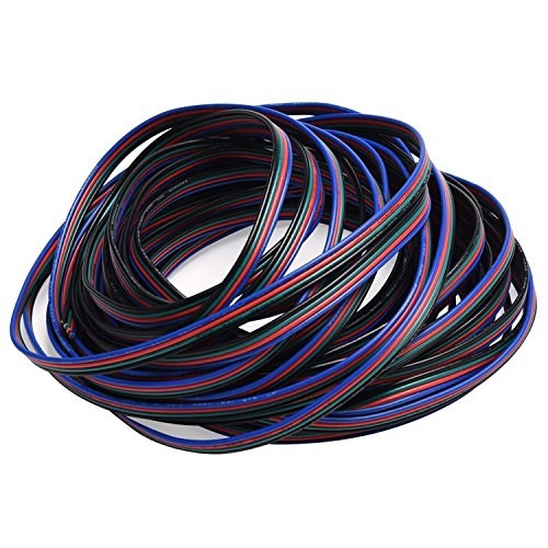 JACKYLED 22AWG RGB Cable 4 pins Extension Cable Led Light Strip Extend Wire for 5050 LED Tape 10m 32.8ft LED connectors