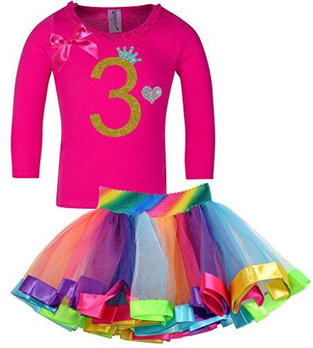 Princess Bubblegum Outfits (Bubblegum Divas Little Girls' 3rd Birthday Princess Shirt Rainbow Tutu Outfit 5-6)