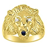 Amazing Conversation Starter Genuine Natural Diamond & Gorgeous Blue Sapphire Lion Head Ring in Yellow Gold Plated Silver .925