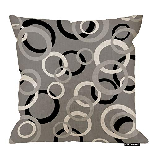 HGOD DESIGNS White Gray and Black Circle Print Decorative Throw Pillow Cover Cushion Cover Home Office Square for Room Sofa 18 Inch ()