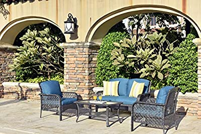 ovios 4 Pieces Outdoor Patio Furniture Sets Rattan Chair Wicker Set with Cushions,Table,Outdoor Indoor Backyard Porch Garden Poolside Balcony Furniture