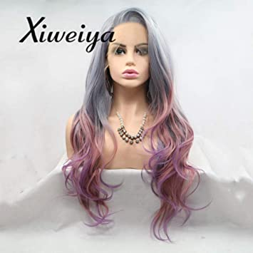 Xiweiya Smoke Grau Farbe Ombre Lila Kunsthaar Perücken Lace Front