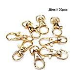 BRCbeads Lobster Clasp Gold Plated Jewelry Lobster Claw Swivel Clasps 38mm Key Ring for Jewelry Making