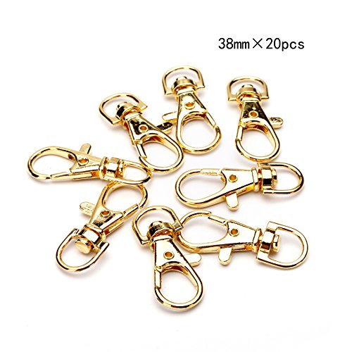 BRCbeads Lobster Clasp Gold Plated Jewelry Lobster Claw Swivel Clasps 38mm Key Ring for Jewelry Making (Swivel Lobster)