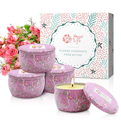 Peppi Life Rose Scented Candles Value Pack, 4.5 oz Each 100% Soy Wax, Gift for Stress Relief and Aromatherapy, 4 Packs, Bigger Size,25-30 Hours /1Pack(44.5oz Rose)