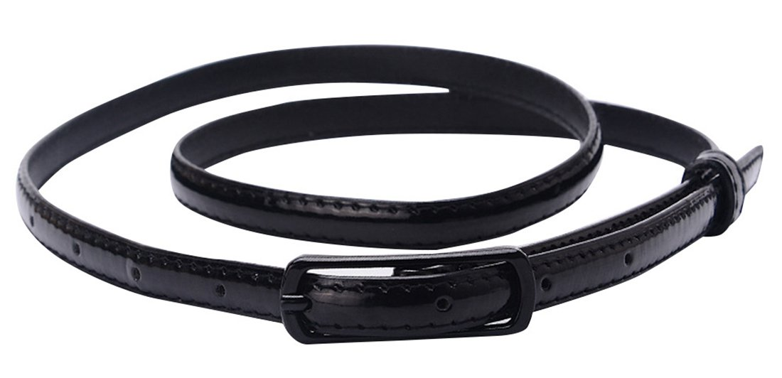 Selighting Women's Solid Color Faux Leather Skinny Belts for Dresses (One Size, Black)