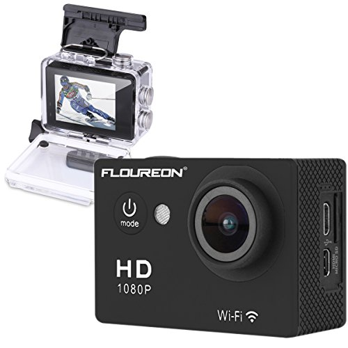 Floureon Y8-P Waterproof Wireless Mini WiFi Action Sports Camera 2.0 Inch LCD Display H264 1080P HD 12Mp TV PC Camera 140° Wide-Angle USB Output, Black