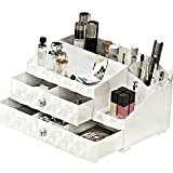 MaxKim Multi-function Makeup Jewelry Organizer 2 Drawer with 13 Compartments for all of your Cosmetics, Jewelries, Nail Polishes etc, Cosmetic Storage Box(M)