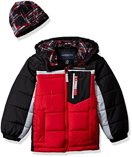 London Fog Baby Toddler Boys' Active Heavyweight Bubble Jacket With Beanie, Red/Black, 2T - Red Hats Heavyweight Hat