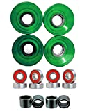 Everland Longboard Skateboard Cruiser Wheels 60x44mm w/Bearings & Spacers (Clear Green)