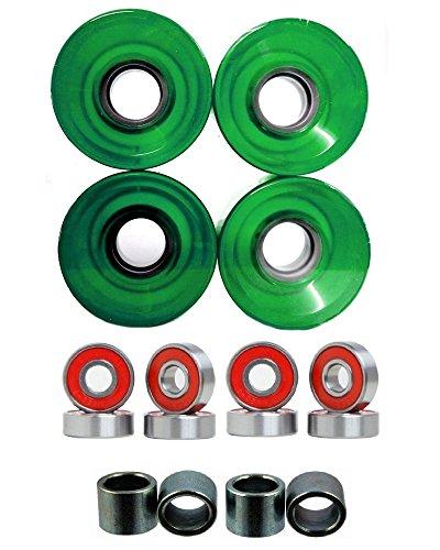 Everland Longboard Skateboard Cruiser Wheels 60x44mm w/ Bearings & Spacers (Clear Green)
