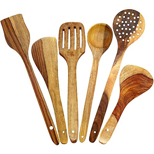 WhopperIndia Wooden Healthy Cooking Utensils Set – Wooden Spoons and Spatula Utensil Set – Wood Nonstick Cooking Spoons…
