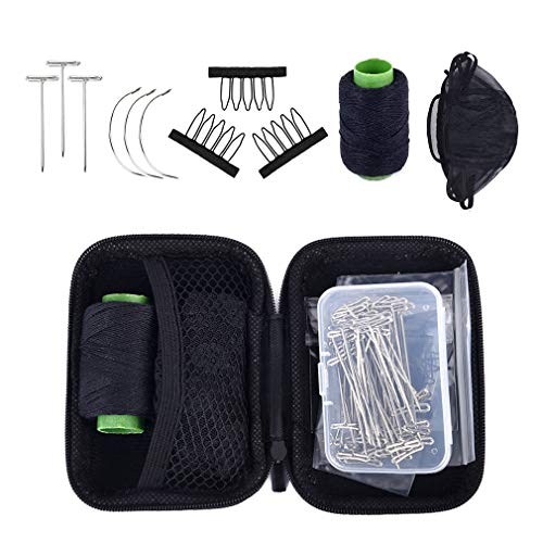SEIKEA Wig Making Kit, Wig Comb Clip, Curving Needle, T Pin, Lace Cap, Wave Thread for Hair