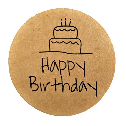 60 Stickers Rustic Natural Kraft with a Happy Birthday message - 1.38