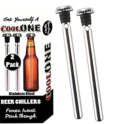 Cool One Beer Chiller - Beverage Cooling Sticks - Keep Your Beers Cold Longer! Unique Father's Day Gifts For Dad! (Gift Set Of 2 Coolers)
