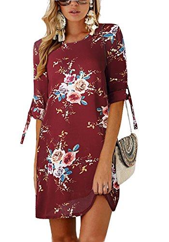 Chiffon Floral Tunic - PRETTYGARDEN Women's Tie Sleeve Floral Print Swing Fit Crew Neck Casual Chiffon Plus Size Tunic T-Shirt Mini Dress (0881_Wine Red, Large)