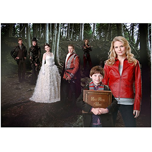 Once Upon a Time Jennifer Morrison as Emma with Henry and Cast in Woods 8 x 10 Photo