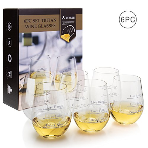 Avery Barn Tritan Wine Glasses Stemless With Saying   6pc Set 12oz Unbreakable Shatterproof Acrylic Glassware Tumblers   BPA-Free Plastic   For Red White Wines   Boat & Pool Parties   Dish Washer Safe by Avery Barn (Image #4)