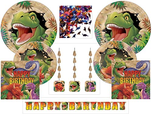 (Dino Dinosaur Deluxe Birthday Party Supplies Kit Including Plates, Napkins, Banner, Danglers, Confetti for 24 Guests (85 Pieces) )