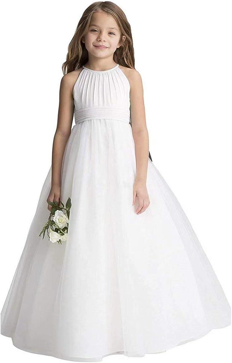 UK Girls Kids Princess Wedding Birthday Party Chiffon Sequins Flower Girls Dress