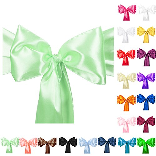 TtS Pack of 10 Satin Chair Cover Sashes Bow Satin Back Tie Ribbon Table Runner Wedding Reception Banquet Decoration (Mint Green)