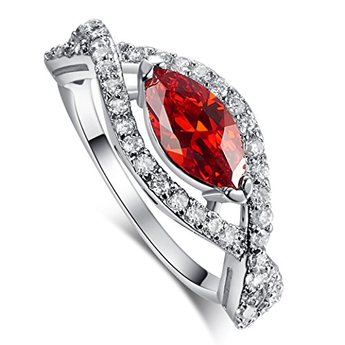 Veunora 925 Sterling Silver Created Marquise Cut Garnet and White Topaz Filled Infinity Ring for Women Size 8