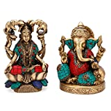 Lord Ganesh & Goddess Lakshmi Statue Set of Hindu God Idol Turquoise Brass India Laxmi Ganesha Decor Gifts