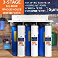 "3 Stage Big Blue 20"" Whoe House System 1"" Port + Carbon Block+Sediment Filters"
