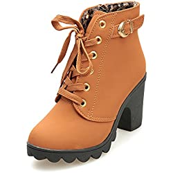 Sunhusing Women's Round Toe High-Heel Platform Short Boots Female Ladies Lace-Up Buckle Ankle Booties