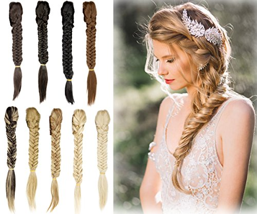 Ponytail Fishtail Braid Extension Long Clip on Bun with Claw Clip Synthetic Ponytail Hairpieces