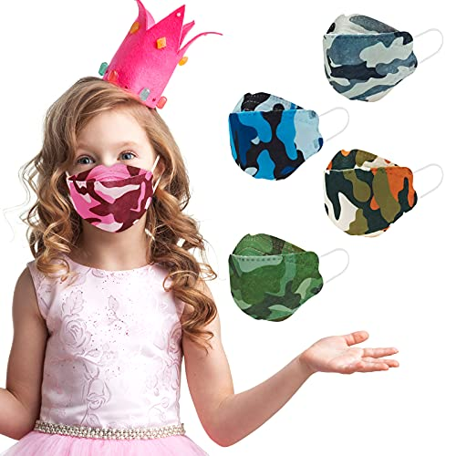 KF94 Kid Sized Mask Design for Children, Small Child Size Individually Wrapped for Boys Girls, Cool Stylish Camo Print Comfortable Fit Easy Breathe Talk, Soft Variety Colored Pattern 4 Ply Protective Disposable Face Mask with Adjustable Nos