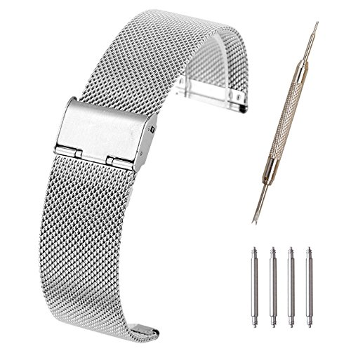 Metal Mesh Strap - Top Plaza 20mm Stainless Steel Bracelet Wrist Watch Band Replacement Mesh Metal Strap Interlock Safety Clasp(Silver)