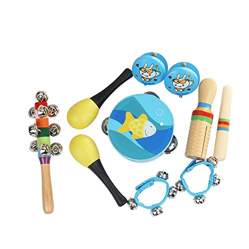 Kalaok 10pcs/set Musical Toys Percussion Instruments Band Rhythm Kit Including Tambourine Maracas Castanets Handbell Wooden Guiro for Kids Children Toddlers