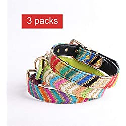 CHUANG TIANG Leather Dog Collar, Pet Dog Collar Shiny with Delicate Colored Ribbon Cat Collar Bell