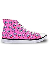 Canvas Hightop Sneakers Unisex Casual Outdoor Easy Walking Shoes Cartoon Smiling Face Pink
