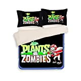 Plants VS. Zombies Bedding Sets - Sport Do Best Gifts for Game Funs 100% Polyester Skinclose Flat Sheet 3PC Twin