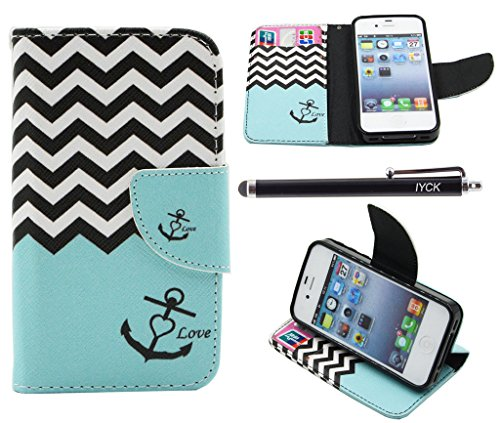 iPhone 4S Case, iPhone 4 Case Wallet, iYCK Premium PU Leather Flip Folio Carrying Magnetic Closure Protective Shell Wallet Case Cover for iPhone 4 / 4S with Kickstand Stand - Wavy Anchor (4s Case Turquoise Iphone)