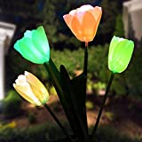 Doingart Outdoor Solar Garden Stake Lights Solar Powered Lights with 4 Tulip Flower, Multi-color Changing LED Solar Decorative Lights for Garden, Patio, Backyard (Yellow)