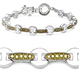 1.06 Carat Genuine Yellow Diamond Sterling Silver Bracelet