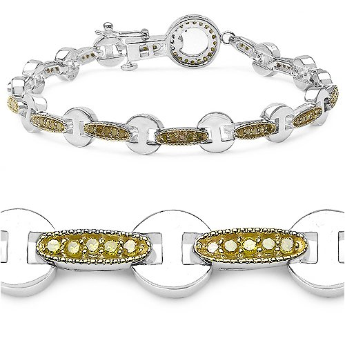 1.06 Carat Genuine Yellow Diamond Sterling Silver Bracelet