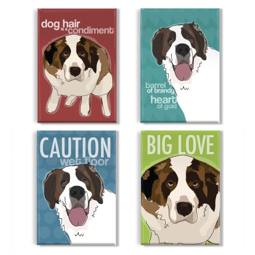 Pop Doggie St Bernard Refrigerator Magnets with Funny Sayings (Set of 4)