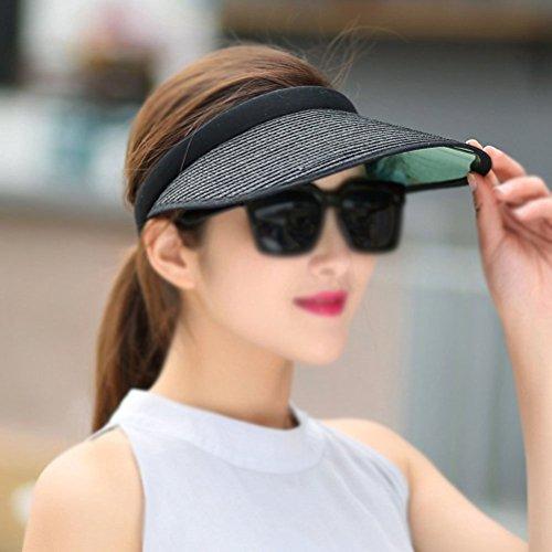 VIVISKY Straw Visor Straw Clip Ons Wide Brim Straw Hat Cap Paper Braid Visor Hat Raffia Visor UV 50+ - Wide Braid Hat Toyo