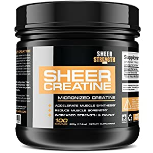 500g Micronized Creatine Monohydrate Powder Scientifically Proven Muscle Builder Supplement 100 Full Servings Non GMO Made in The U.S.A. Exclusively from Sheer Strength Labs