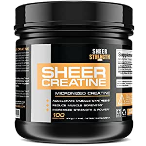 500g Micronized Creatine Monohydrate Powder - Scientifically-Proven Muscle Builder Supplement - 100 Full Servings - Non-GMO - Made in The U.S.A. - Exclusively from Sheer Strength Labs