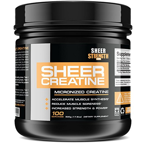 500g Micronized Creatine Monohydrate Powder – Scientifically-Proven Muscle Builder Supplement – 100 Full Servings – Non-GMO – Made in The U.S.A. – Exclusively from Sheer Strength Labs