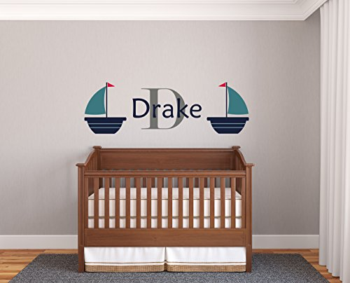 Custom Name Boats - Prime Series - Baby Boy - Nursery Wall Decal For Baby Room Decorations - Mural Wall Decal Sticker For Home Children's Bedroom (J138) (Wide 44