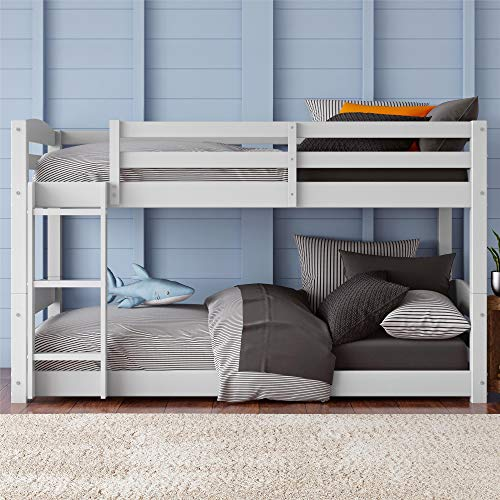 Dorel Living Phoenix Solid Wood Twin over Twin Floor Bunk Beds with Ladder and Guard Rail, White - Low Loft Bunk Bed